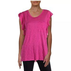 Free People So Easy Purple Raw Hem Boho T-Shirt